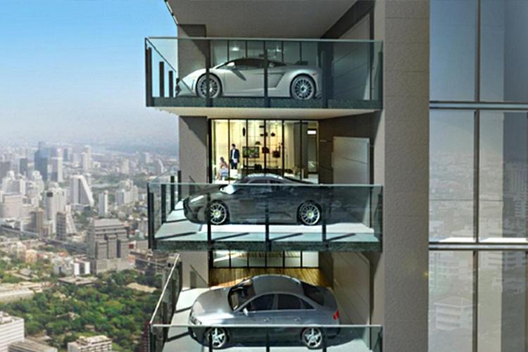 Edificios de lujo con elevador para auto nuevo proyecto en Querétaro