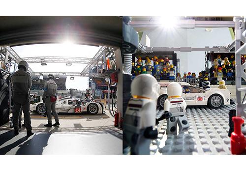 Fotografo de carreras recrea imagenes de Porsche iluminación