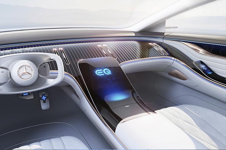 Mercedes-Benz EQS hyperscreen la nueva macro pantalla en el coche eléctrico diseño tecnología