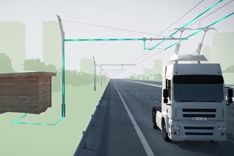 nueva autopista ehighway que carga a los camiones hibridos
